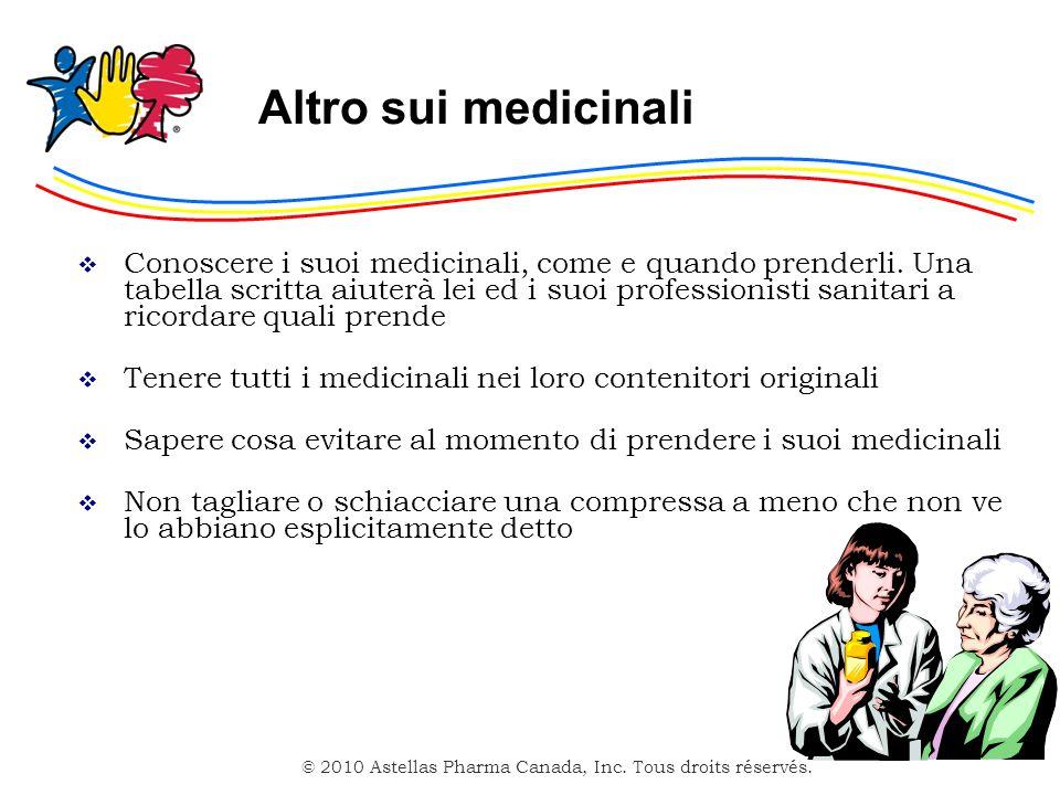 © 2010 Astellas Pharma Canada, Inc. Tous droits réservés. Altro sui medicinali Conoscere i suoi medicinali, come e quando prenderli. Una tabella scrit