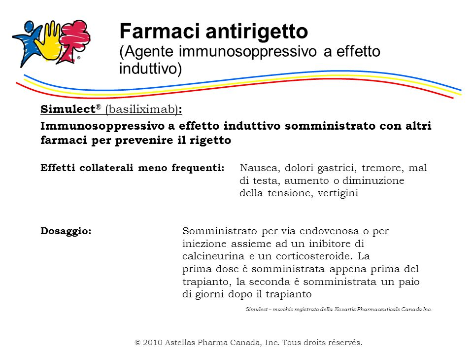 © 2010 Astellas Pharma Canada, Inc. Tous droits réservés. Farmaci antirigetto (Agente immunosoppressivo a effetto induttivo) Simulect ® (basiliximab)