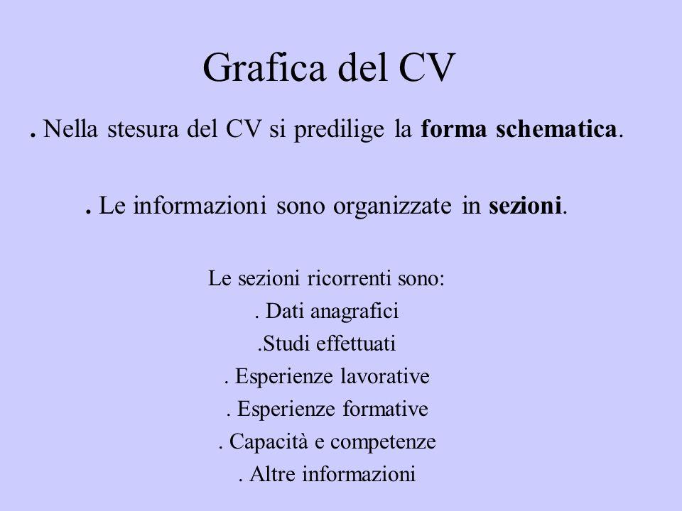 Grafica del CV. Nella stesura del CV si predilige la forma schematica.. Le informazioni sono organizzate in sezioni. Le sezioni ricorrenti sono:. Dati
