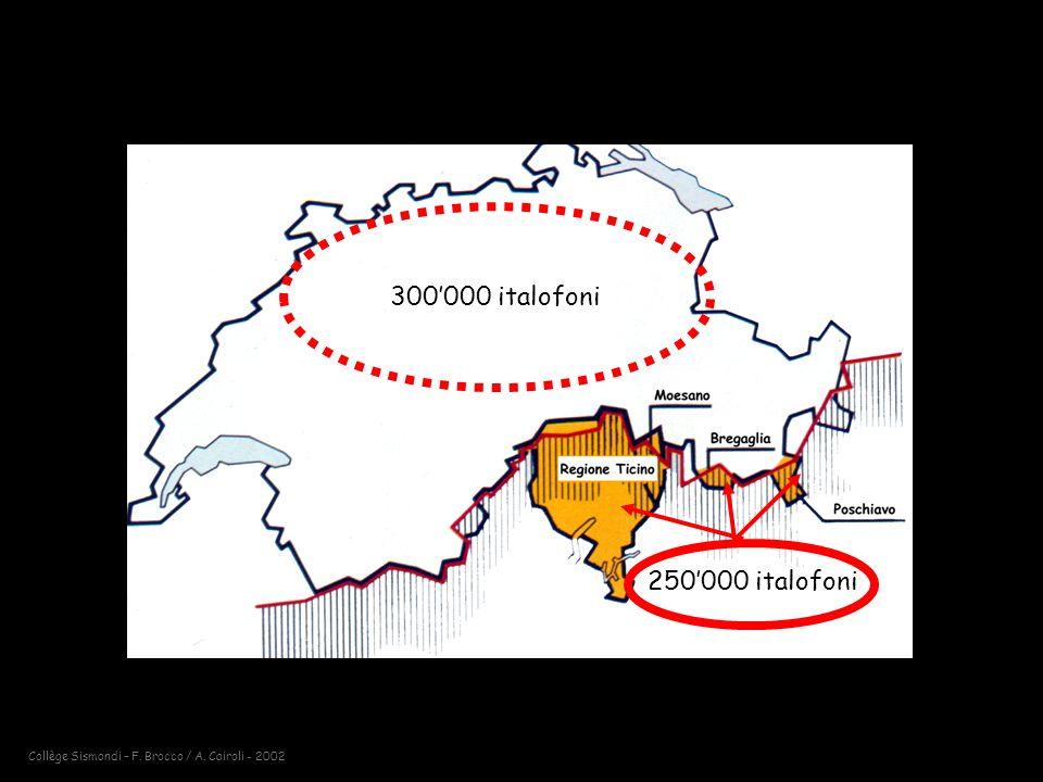 Collège Sismondi – F. Brocco / A. Cairoli - 2002 300000 italofoni 250000 italofoni