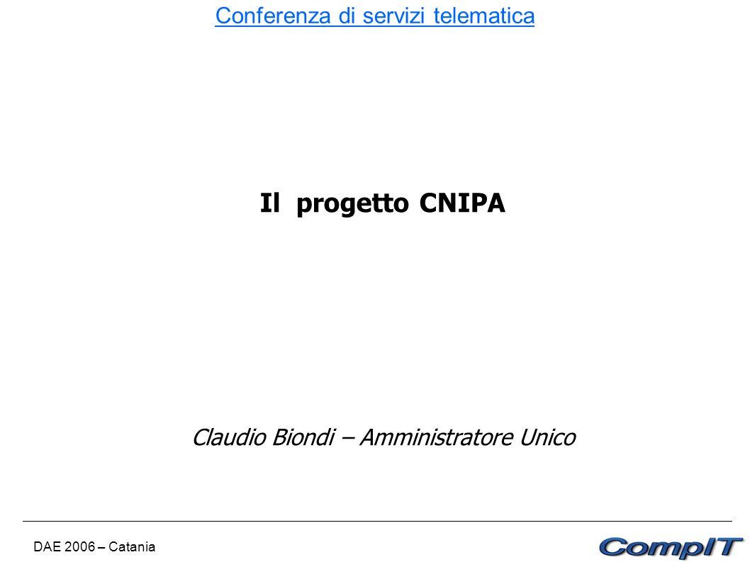 Conferenza di servizi telematica DAE 2006 – Catania Il progetto CNIPA Claudio Biondi – Amministratore Unico