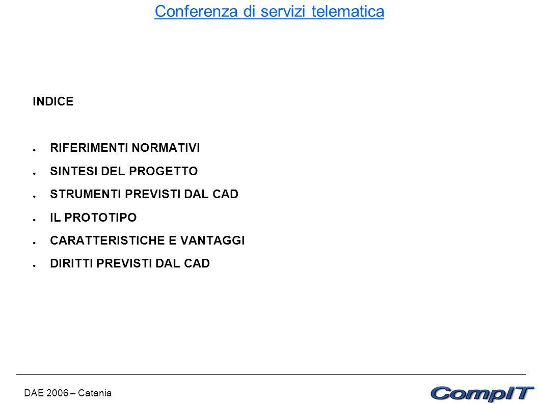 Conferenza di servizi telematica DAE 2006 – Catania INDICE RIFERIMENTI NORMATIVI SINTESI DEL PROGETTO STRUMENTI PREVISTI DAL CAD IL PROTOTIPO CARATTER