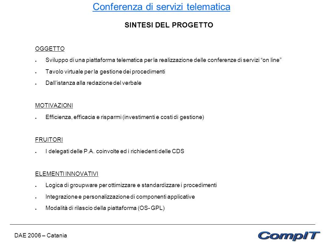 Conferenza di servizi telematica DAE 2006 – Catania SINTESI DEL PROGETTO OGGETTO Sviluppo di una piattaforma telematica per la realizzazione delle con