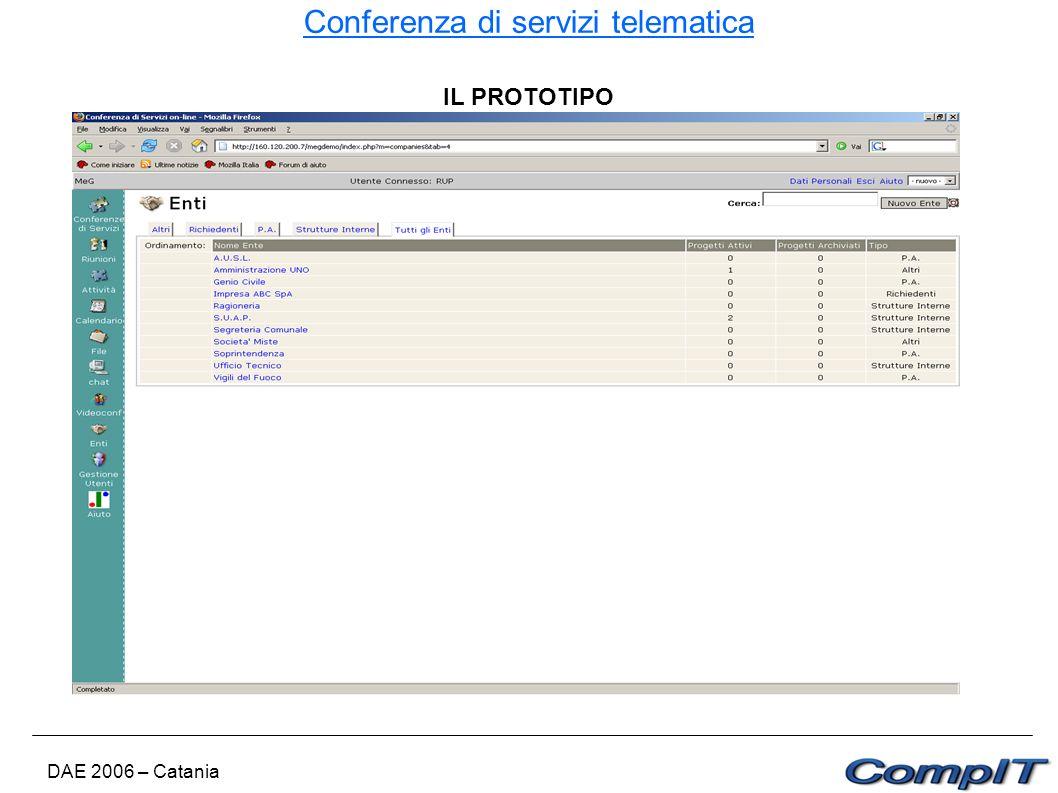 Conferenza di servizi telematica DAE 2006 – Catania IL PROTOTIPO
