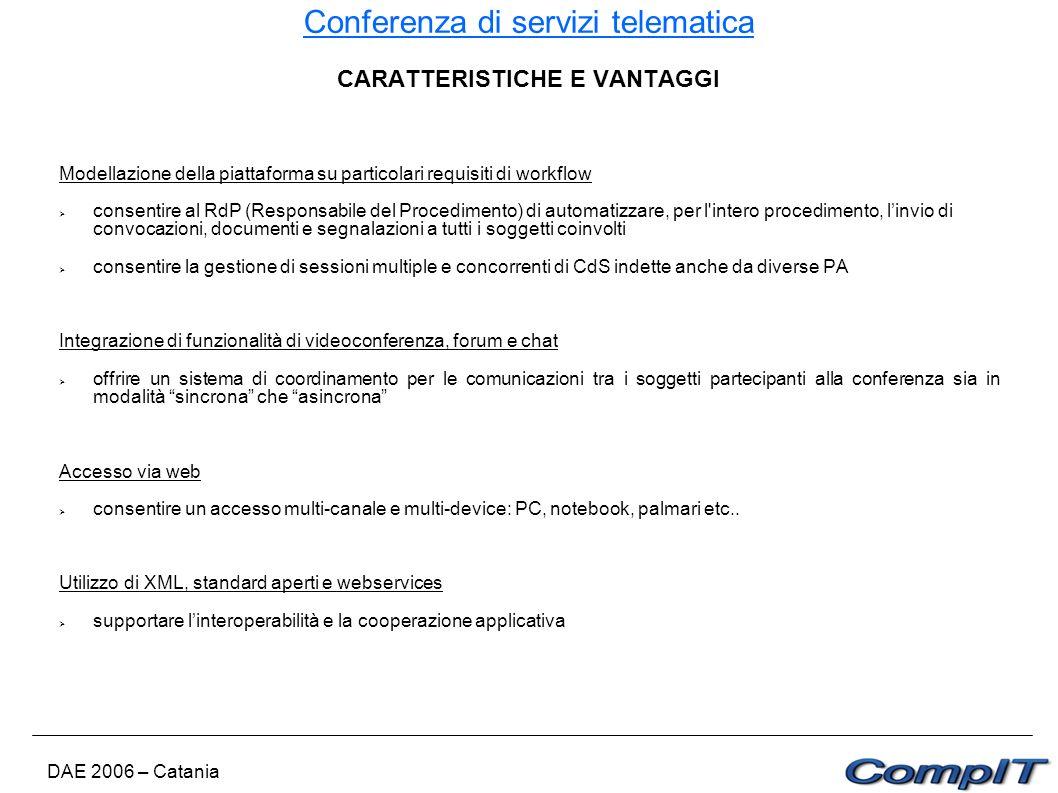 Conferenza di servizi telematica DAE 2006 – Catania CARATTERISTICHE E VANTAGGI Modellazione della piattaforma su particolari requisiti di workflow con