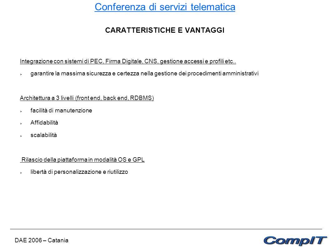 Conferenza di servizi telematica DAE 2006 – Catania CARATTERISTICHE E VANTAGGI Integrazione con sistemi di PEC, Firma Digitale, CNS, gestione accessi