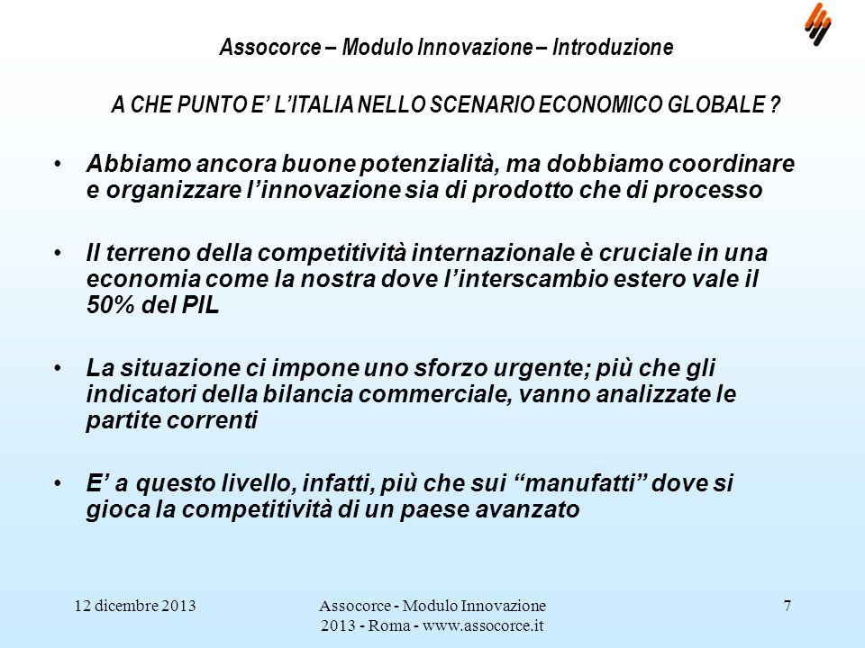 12 dicembre 2013Assocorce - Modulo Innovazione 2013 - Roma - www.assocorce.it 8 Assocorce – Modulo Innovazione – Introduzione Linterscambio (ovvero la somma di export e import) vale quasi il 50% del PIL.
