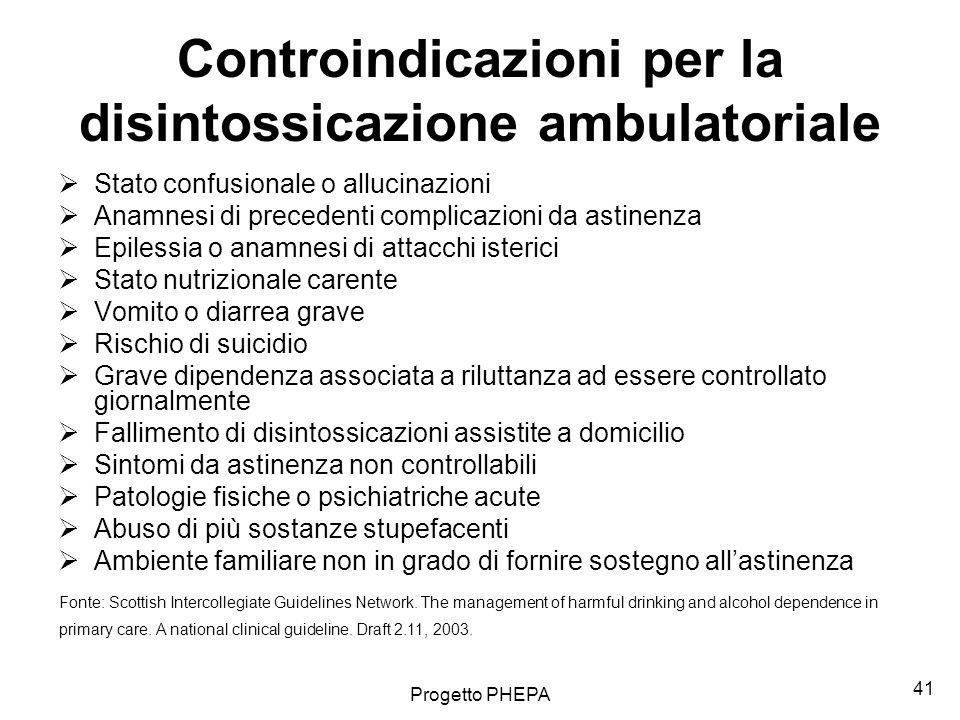 Progetto PHEPA 42 Disintossicazione ambulatoriale: terapia scalare