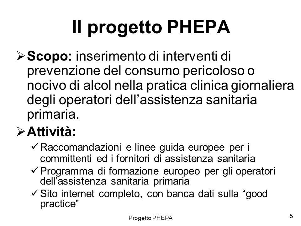 Progetto PHEPA 6 I 5 principali fattori di rischio di malattia e morte prematura in Europa Fonte: World Health Organization (2002) The World Health Report 2002.