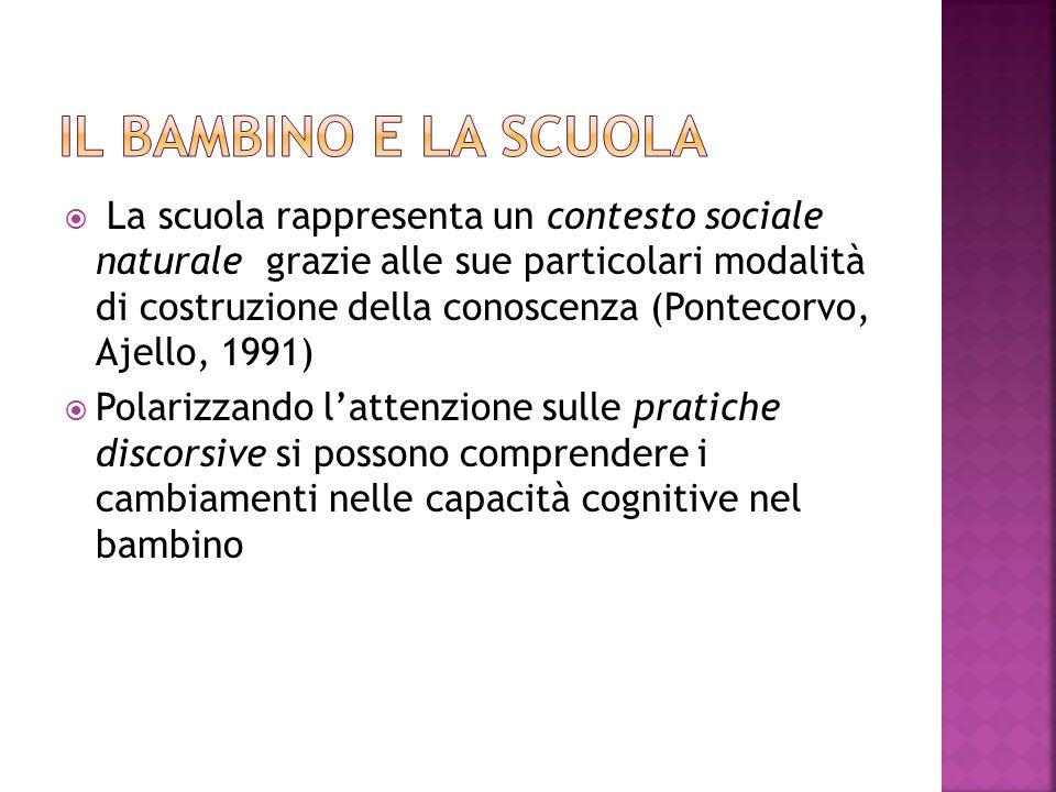 La scuola rappresenta un contesto sociale naturale grazie alle sue particolari modalità di costruzione della conoscenza (Pontecorvo, Ajello, 1991) Polarizzando lattenzione sulle pratiche discorsive si possono comprendere i cambiamenti nelle capacità cognitive nel bambino