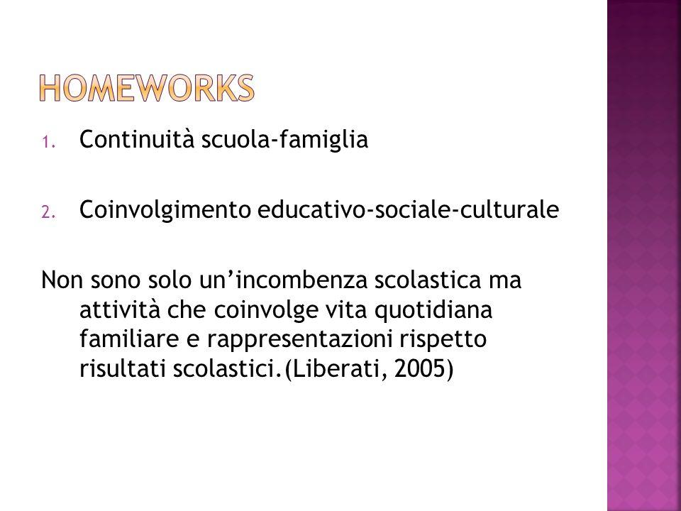 1. Continuità scuola-famiglia 2. Coinvolgimento educativo-sociale-culturale Non sono solo unincombenza scolastica ma attività che coinvolge vita quoti
