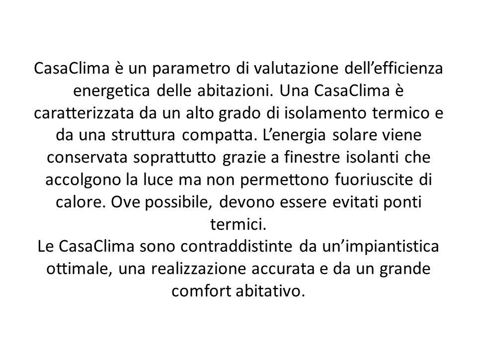 CasaClima è un parametro di valutazione dellefficienza energetica delle abitazioni.