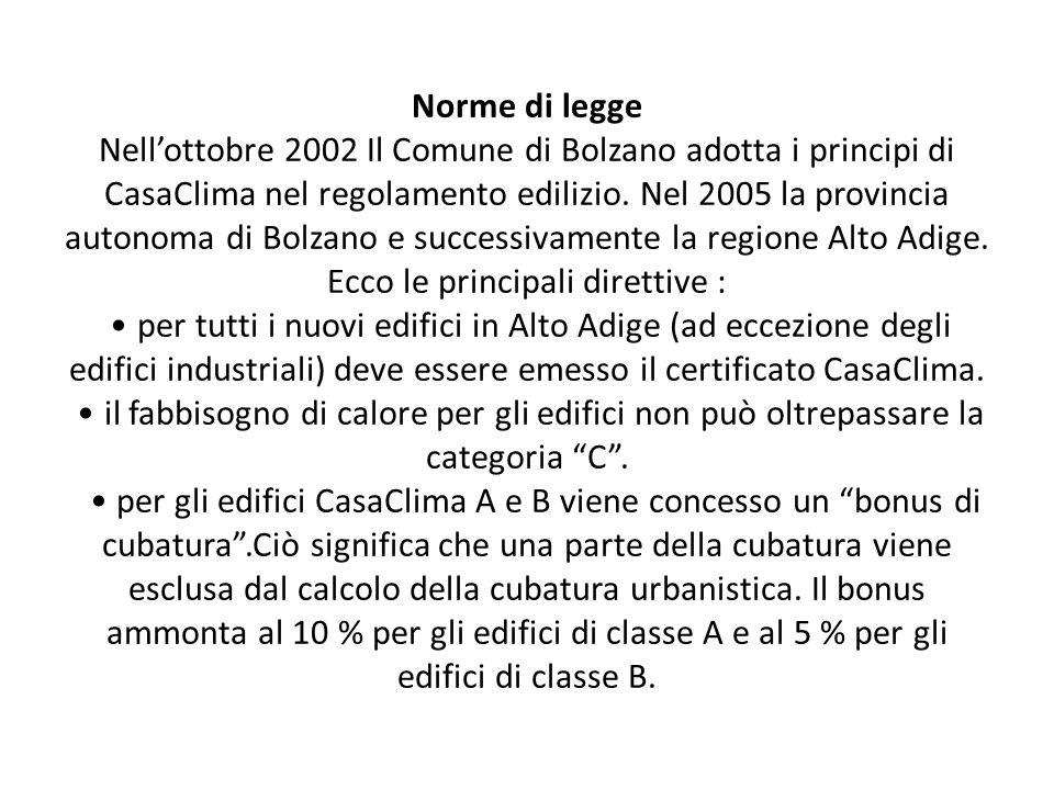 Norme di legge Nellottobre 2002 Il Comune di Bolzano adotta i principi di CasaClima nel regolamento edilizio.