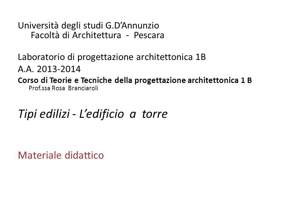 Università degli studi G.DAnnunzio Facoltà di Architettura - Pescara Laboratorio di progettazione architettonica 1B A.A.
