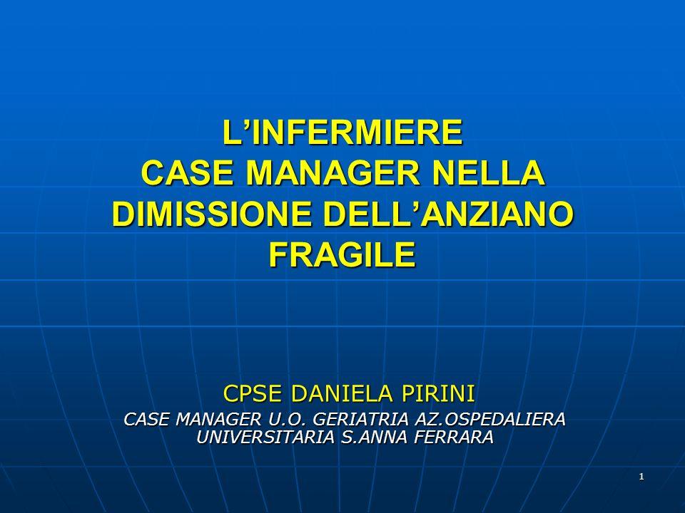 1 LINFERMIERE CASE MANAGER NELLA DIMISSIONE DELLANZIANO FRAGILE CPSE DANIELA PIRINI CPSE DANIELA PIRINI CASE MANAGER U.O.