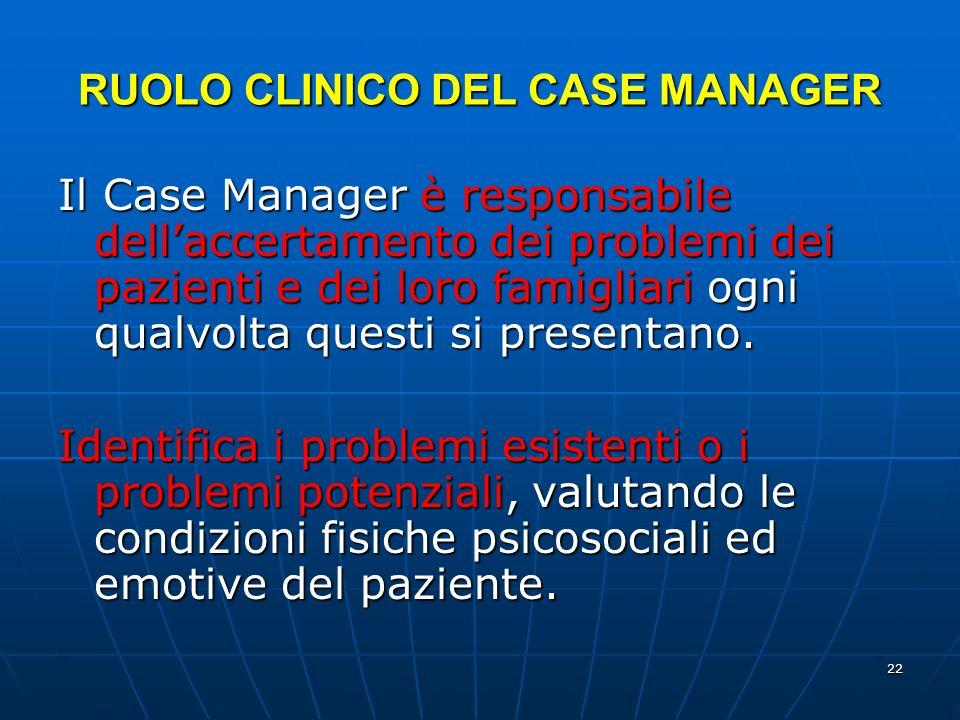 22 RUOLO CLINICO DEL CASE MANAGER Il Case Manager è responsabile dellaccertamento dei problemi dei pazienti e dei loro famigliari ogni qualvolta questi si presentano.