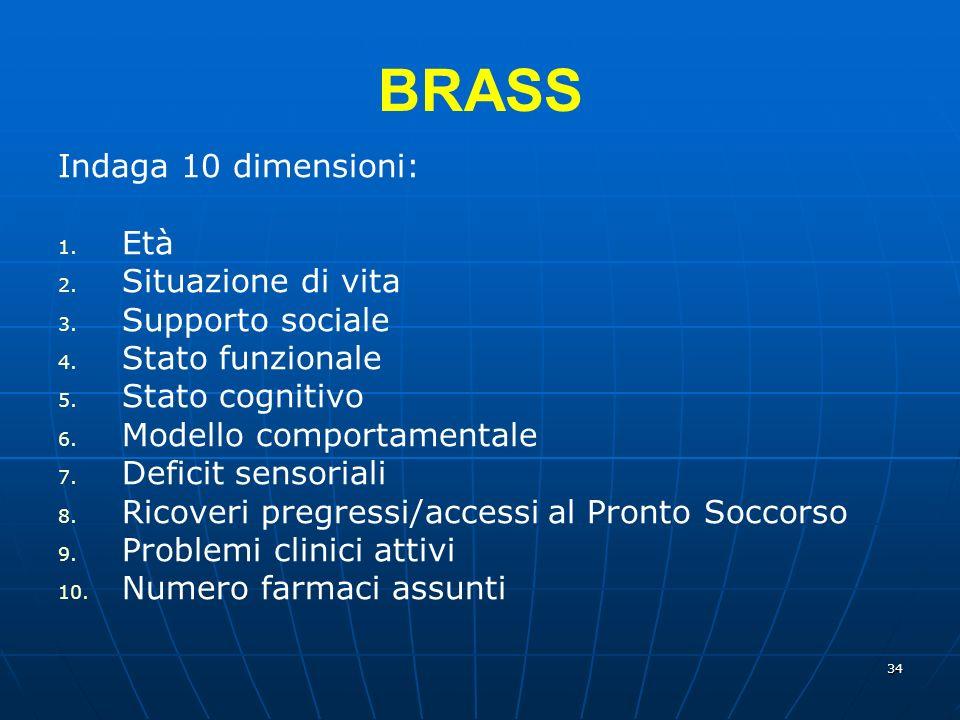 34 BRASS Indaga 10 dimensioni: 1.Età 2. Situazione di vita 3.