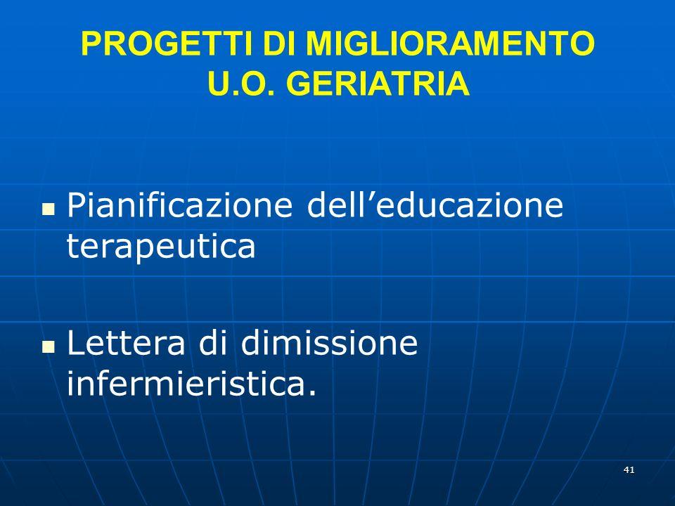 41 PROGETTI DI MIGLIORAMENTO U.O.