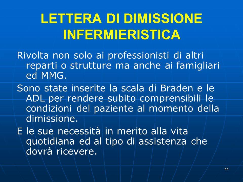 44 LETTERA DI DIMISSIONE INFERMIERISTICA Rivolta non solo ai professionisti di altri reparti o strutture ma anche ai famigliari ed MMG.