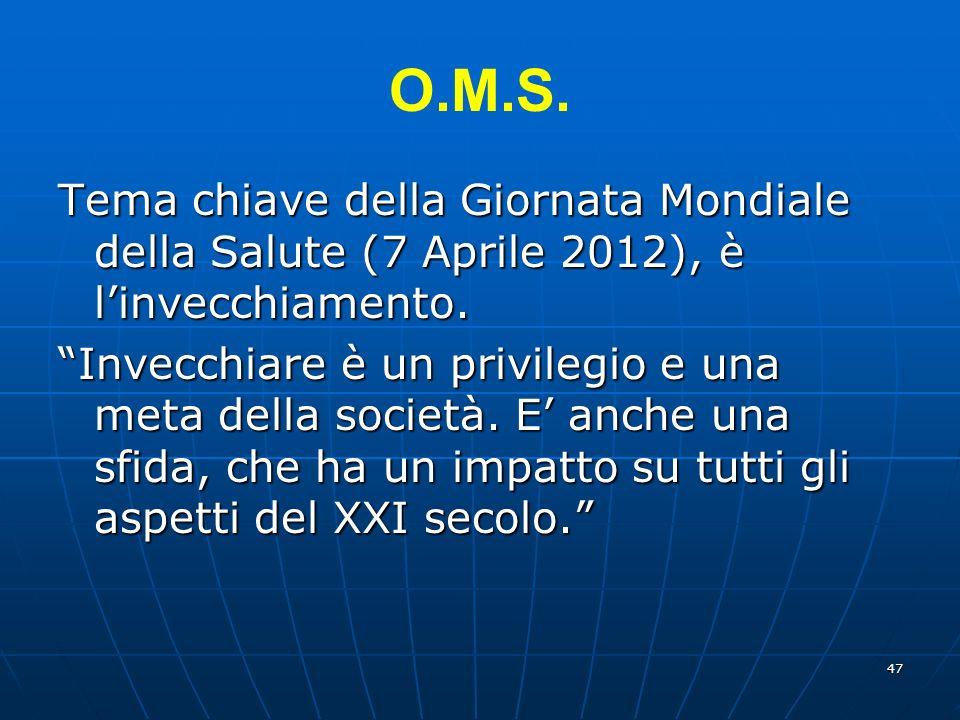 47 O.M.S.Tema chiave della Giornata Mondiale della Salute (7 Aprile 2012), è linvecchiamento.