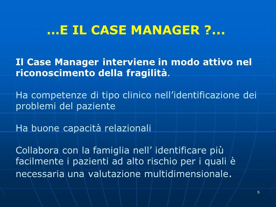 5 Il Case Manager interviene in modo attivo nel riconoscimento della fragilità.