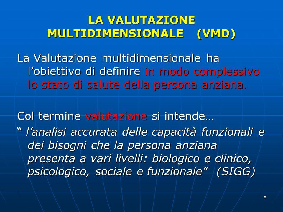 6 LA VALUTAZIONE MULTIDIMENSIONALE (VMD) La Valutazione multidimensionale ha lobiettivo di definire in modo complessivo lo stato di salute della persona anziana.