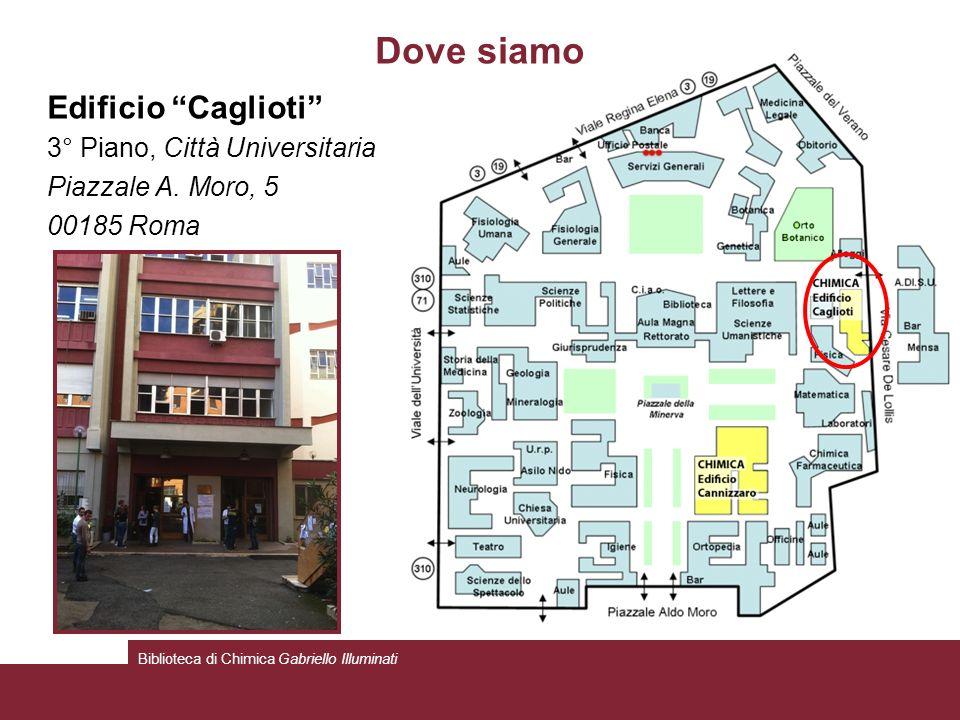 Dove siamo Edificio Caglioti 3° Piano, Città Universitaria Piazzale A. Moro, 5 00185 Roma Biblioteca di Chimica Gabriello Illuminati
