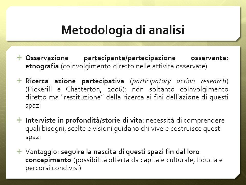 Metodologia di analisi Osservazione partecipante/partecipazione osservante: etnografia (coinvolgimento diretto nelle attività osservate) Ricerca azion