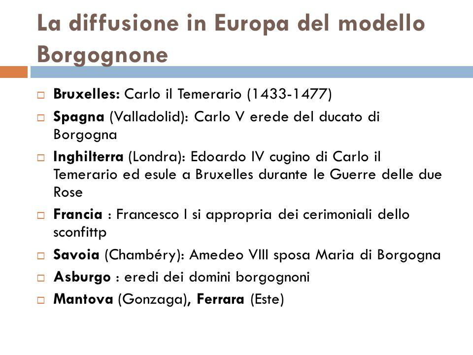 La diffusione in Europa del modello Borgognone Bruxelles: Carlo il Temerario (1433-1477) Spagna (Valladolid): Carlo V erede del ducato di Borgogna Ing