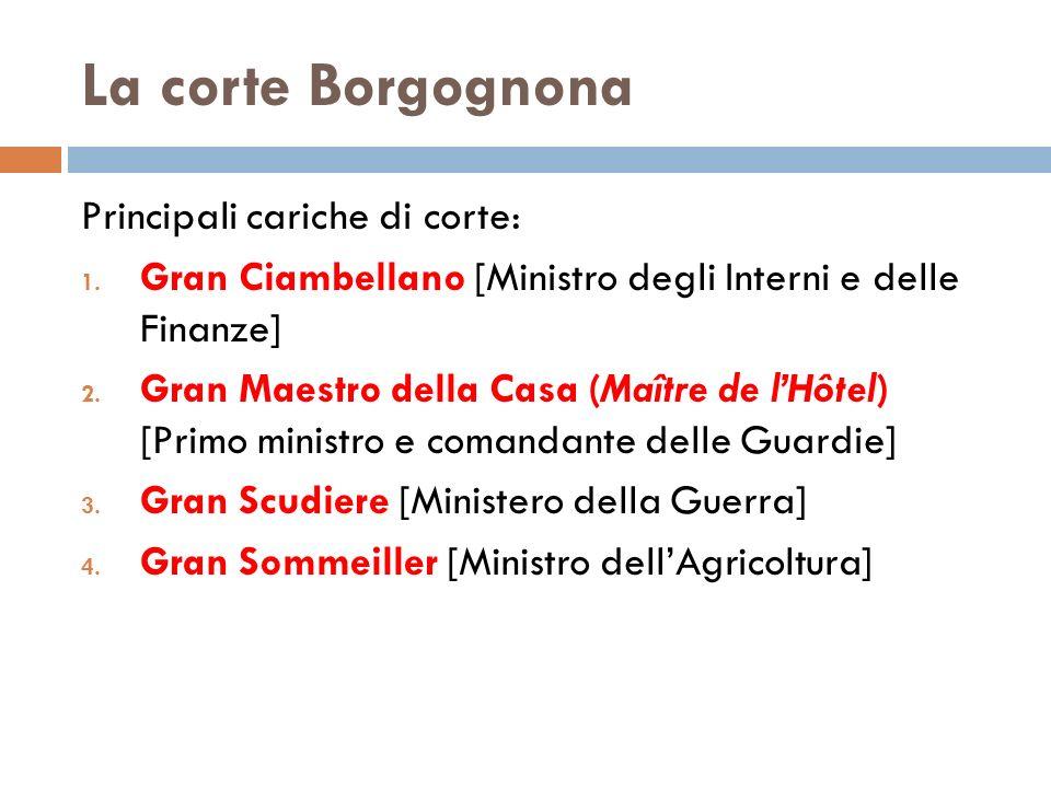 La corte Borgognona Principali cariche di corte: 1.