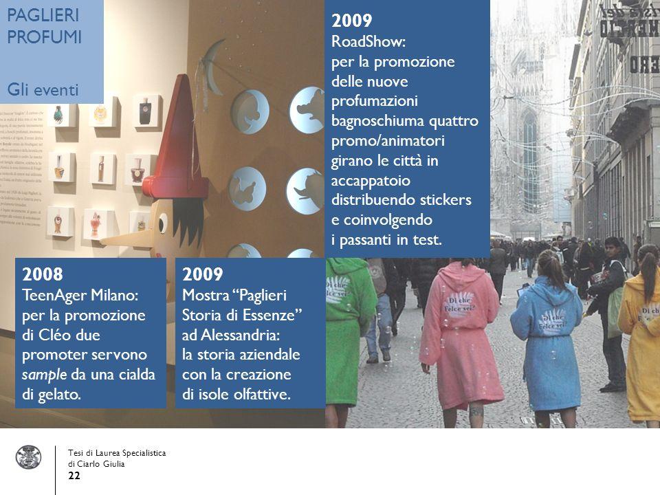 Tesi di Laurea Specialistica di Ciarlo Giulia 22 PAGLIERI PROFUMI Gli eventi 2008 TeenAger Milano: per la promozione di Cléo due promoter servono sample da una cialda di gelato.