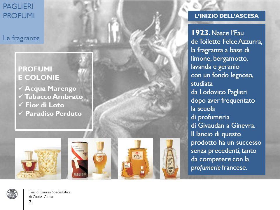 Tesi di Laurea Specialistica di Ciarlo Giulia 2 PAGLIERI PROFUMI Le fragranze 1923.
