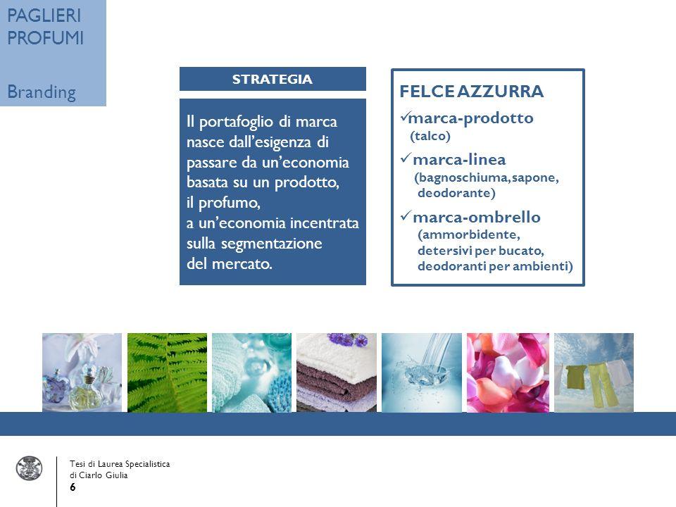 Tesi di Laurea Specialistica di Ciarlo Giulia 6 PAGLIERI PROFUMI Branding Il portafoglio di marca nasce dallesigenza di passare da uneconomia basata su un prodotto, il profumo, a uneconomia incentrata sulla segmentazione del mercato.