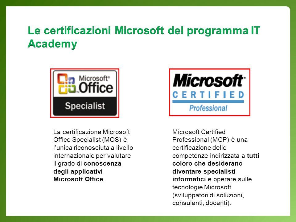 La certificazione Microsoft Office Specialist (MOS) è lunica riconosciuta a livello internazionale per valutare il grado di conoscenza degli applicativi Microsoft Office.