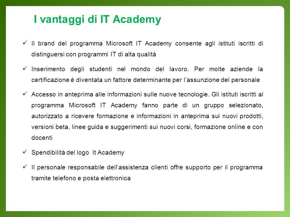 Il brand del programma Microsoft IT Academy consente agli istituti iscritti di distinguersi con programmi IT di alta qualità Inserimento degli studenti nel mondo del lavoro.