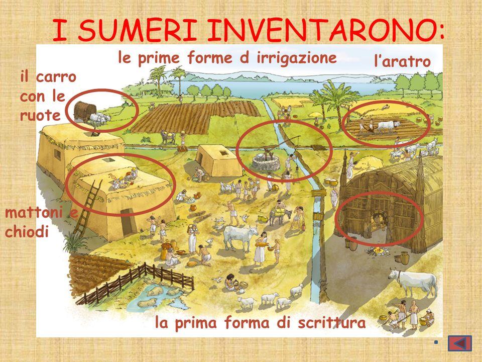 I SUMERI INVENTARONO: mattoni e chiodi la prima forma di scrittura laratro le prime forme d irrigazione il carro con le ruote