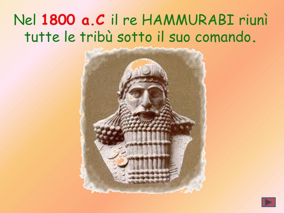 Nel 1800 a.C il re HAMMURABI riunì tutte le tribù sotto il suo comando.
