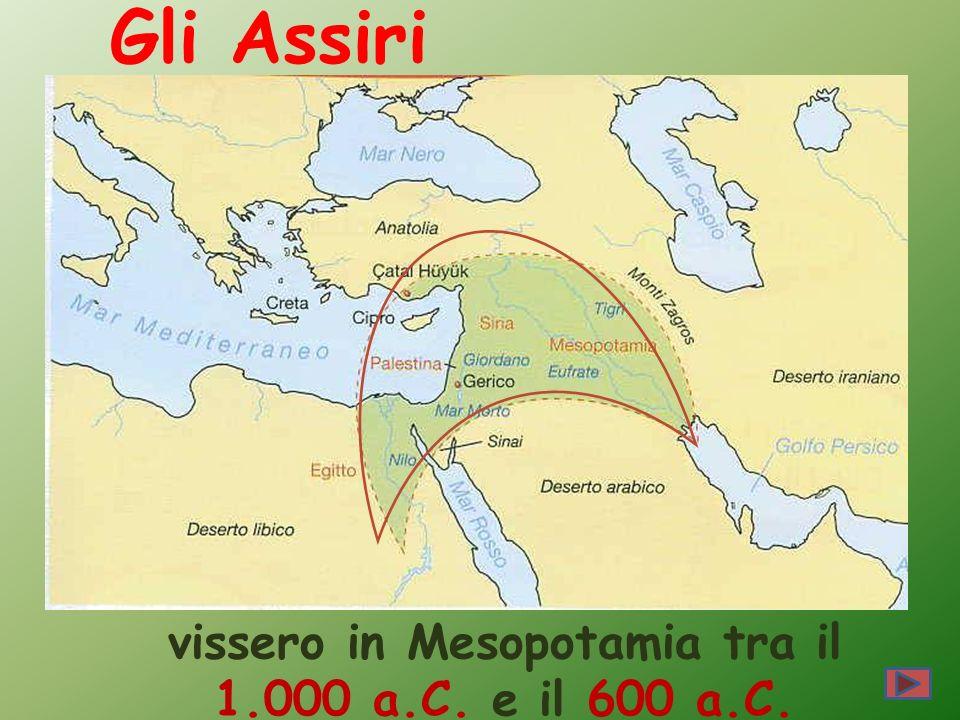 Gli Assiri vissero in Mesopotamia tra il 1.000 a.C. e il 600 a.C.