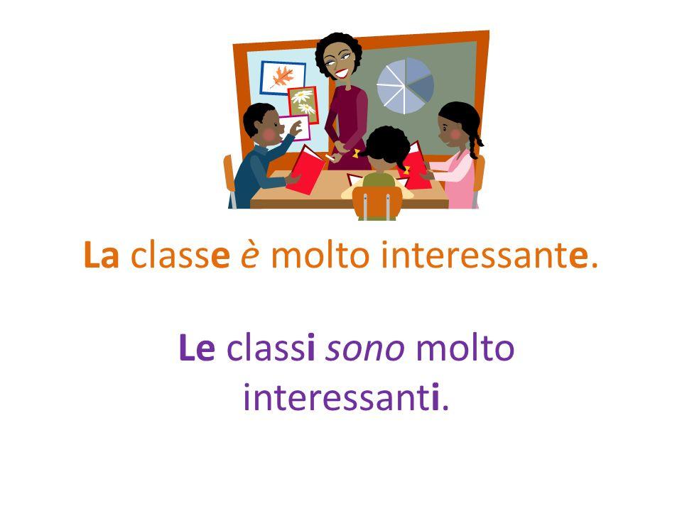 La classe è molto interessante. Le classi sono molto interessanti.