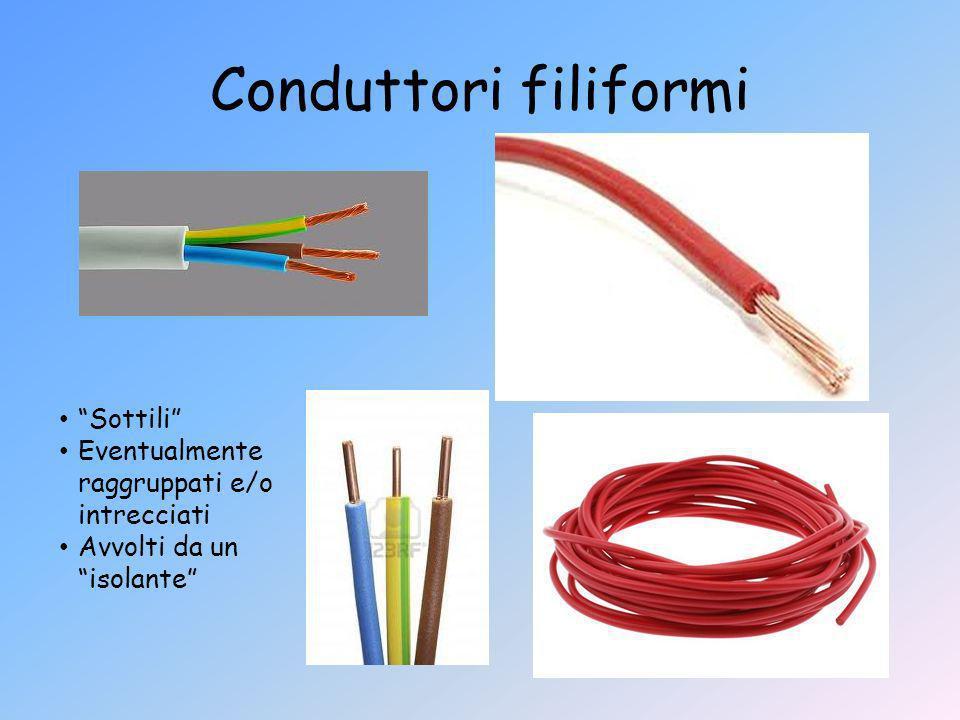 Conduttori filiformi Sottili Eventualmente raggruppati e/o intrecciati Avvolti da un isolante
