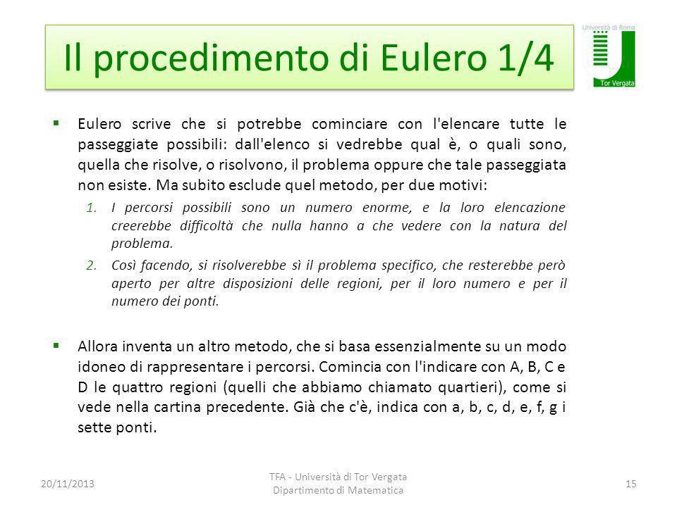 Il procedimento di Eulero 1/4 20/11/2013 TFA - Università di Tor Vergata Dipartimento di Matematica 15 Eulero scrive che si potrebbe cominciare con l'