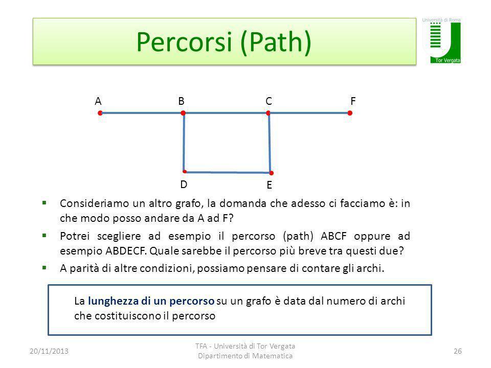 Percorsi (Path) 20/11/2013 TFA - Università di Tor Vergata Dipartimento di Matematica 26 A B D C La lunghezza di un percorso su un grafo è data dal numero di archi che costituiscono il percorso E F Consideriamo un altro grafo, la domanda che adesso ci facciamo è: in che modo posso andare da A ad F.