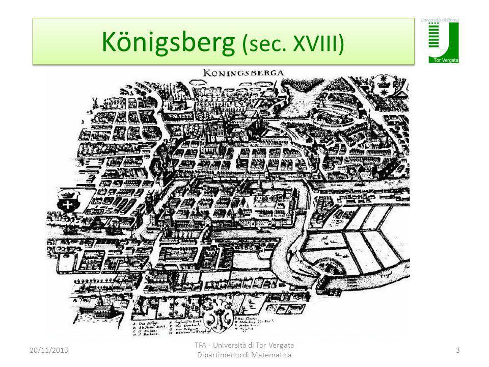 Königsberg (sec. XVIII) 20/11/2013 TFA - Università di Tor Vergata Dipartimento di Matematica 3