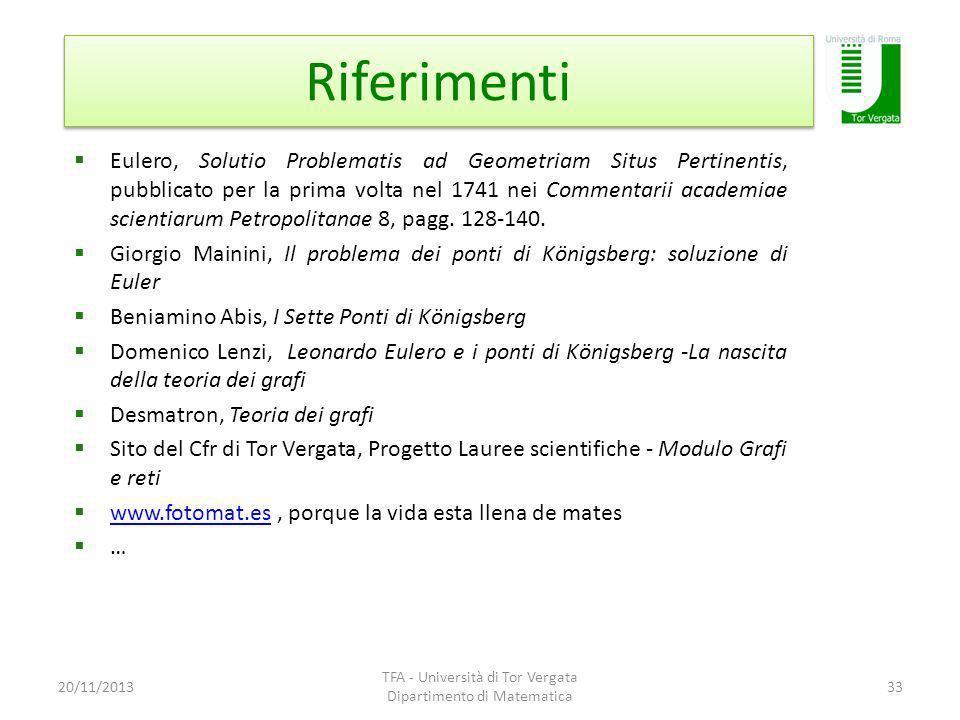 Riferimenti 20/11/2013 TFA - Università di Tor Vergata Dipartimento di Matematica 33 Eulero, Solutio Problematis ad Geometriam Situs Pertinentis, pubb