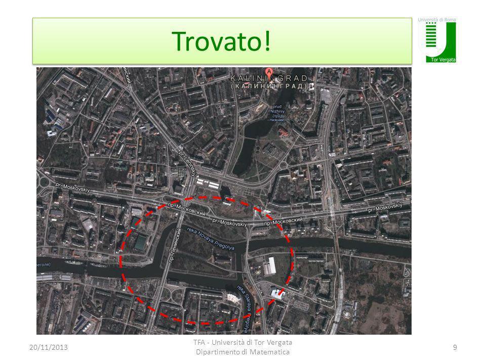 Trovato! 20/11/2013 TFA - Università di Tor Vergata Dipartimento di Matematica 9