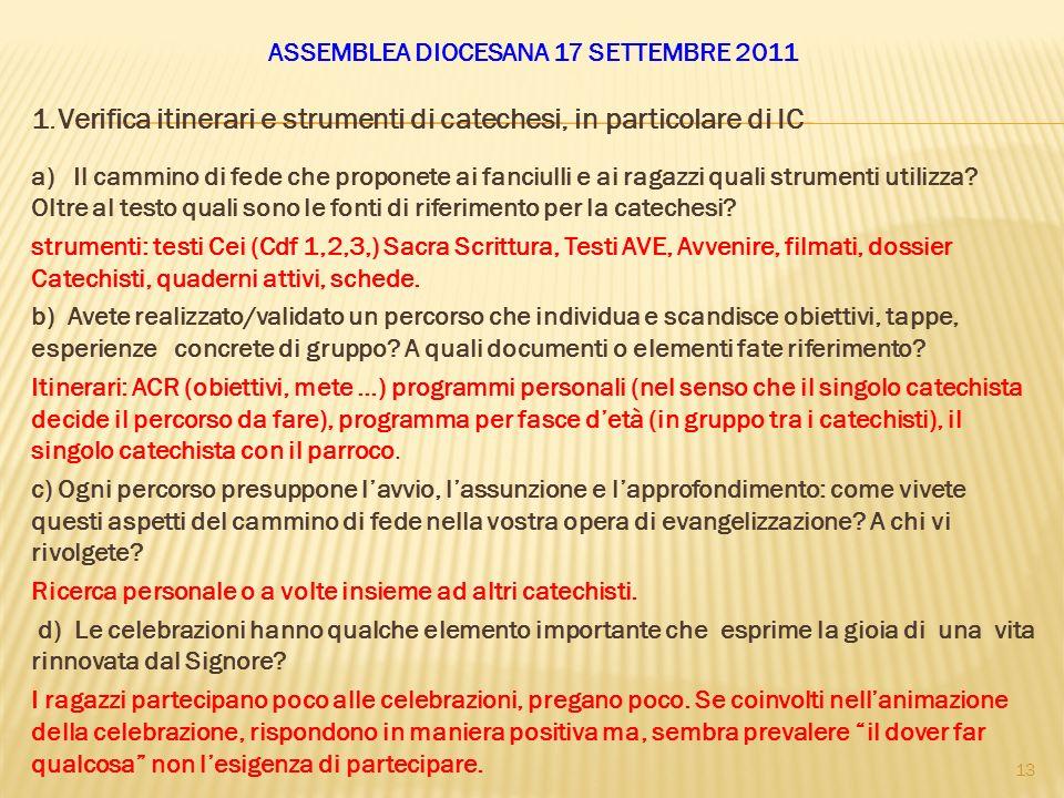 ASSEMBLEA DIOCESANA 17 SETTEMBRE 2011 1.Verifica itinerari e strumenti di catechesi, in particolare di IC a) Il cammino di fede che proponete ai fanci