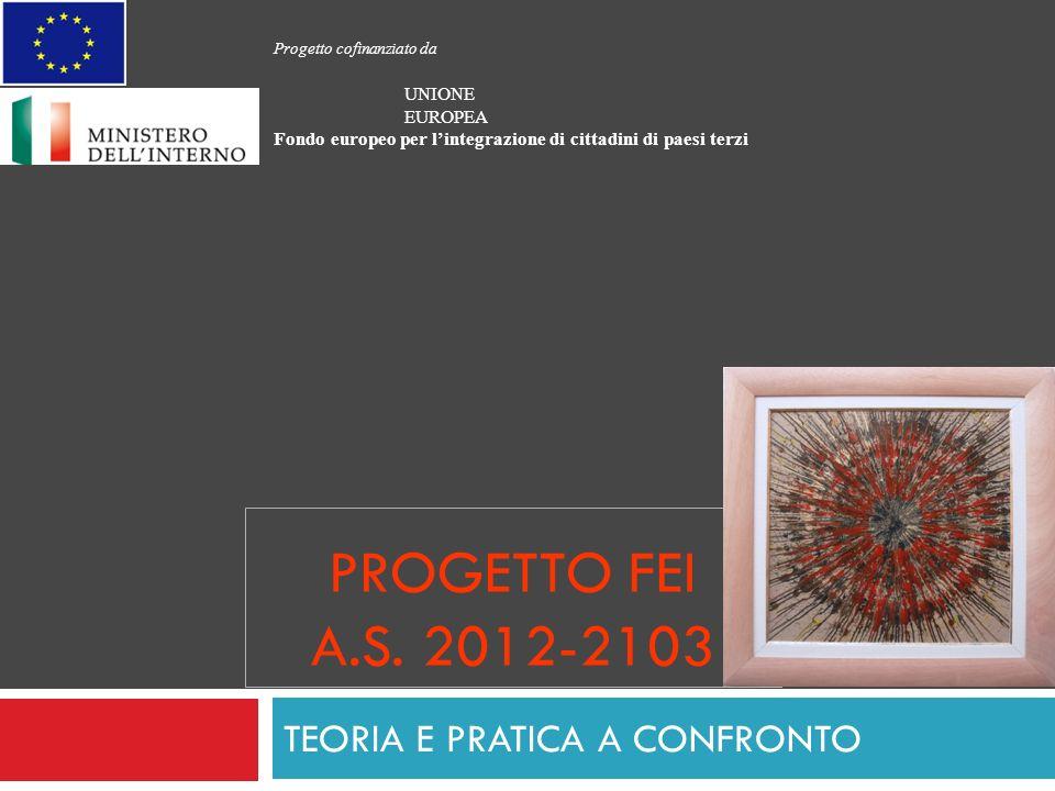 PROGETTO FEI A.S. 2012-2103 TEORIA E PRATICA A CONFRONTO Progetto cofinanziato da UNIONE EUROPEA Fondo europeo per lintegrazione di cittadini di paesi