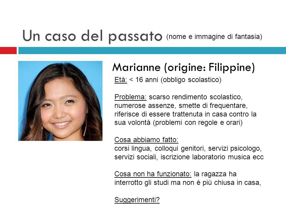 Un caso del passato Marianne (origine: Filippine) Età: < 16 anni (obbligo scolastico) Problema: scarso rendimento scolastico, numerose assenze, smette
