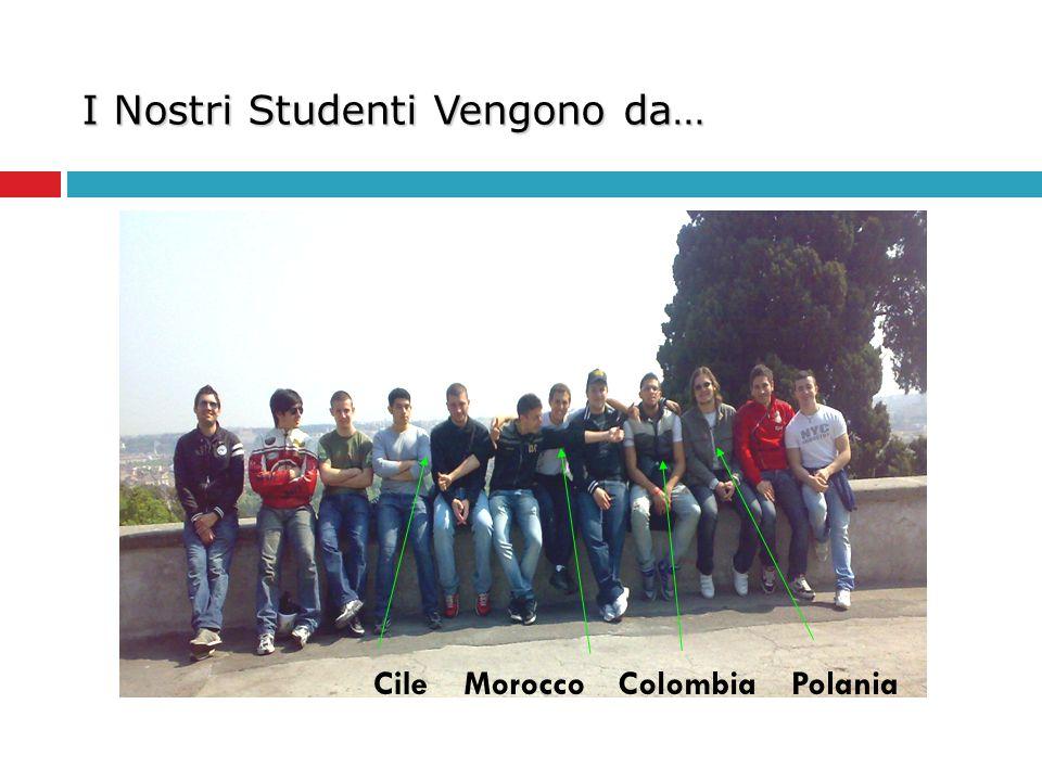 I Nostri Studenti Vengono da… PolaniaColombiaMoroccoCile