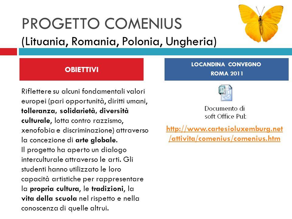 PROGETTO COMENIUS (Lituania, Romania, Polonia, Ungheria) OBIETTIVI LOCANDINA CONVEGNO ROMA 2011 Riflettere su alcuni fondamentali valori europei (pari